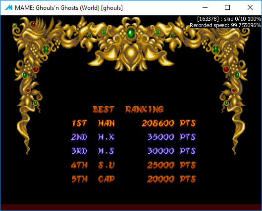 M A M E  - Ghouls'n Ghosts [World] - Points [Tournament