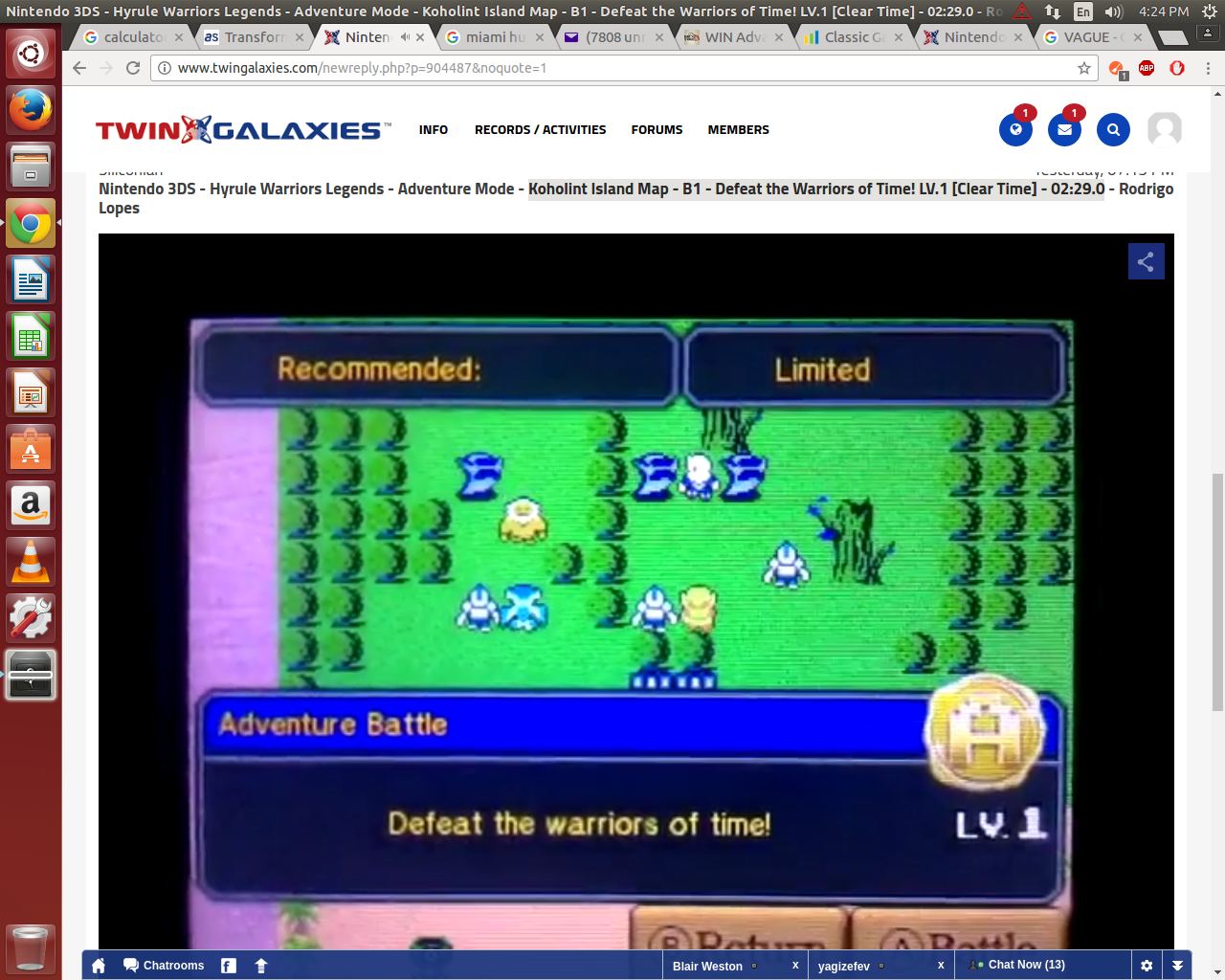 Nintendo 3ds Hyrule Warriors Legends Adventure Mode Koholint Island Map B1 Defeat The Warriors Of Time Lv 1 Clear Time 02 29 0 Rodrigo Lopes