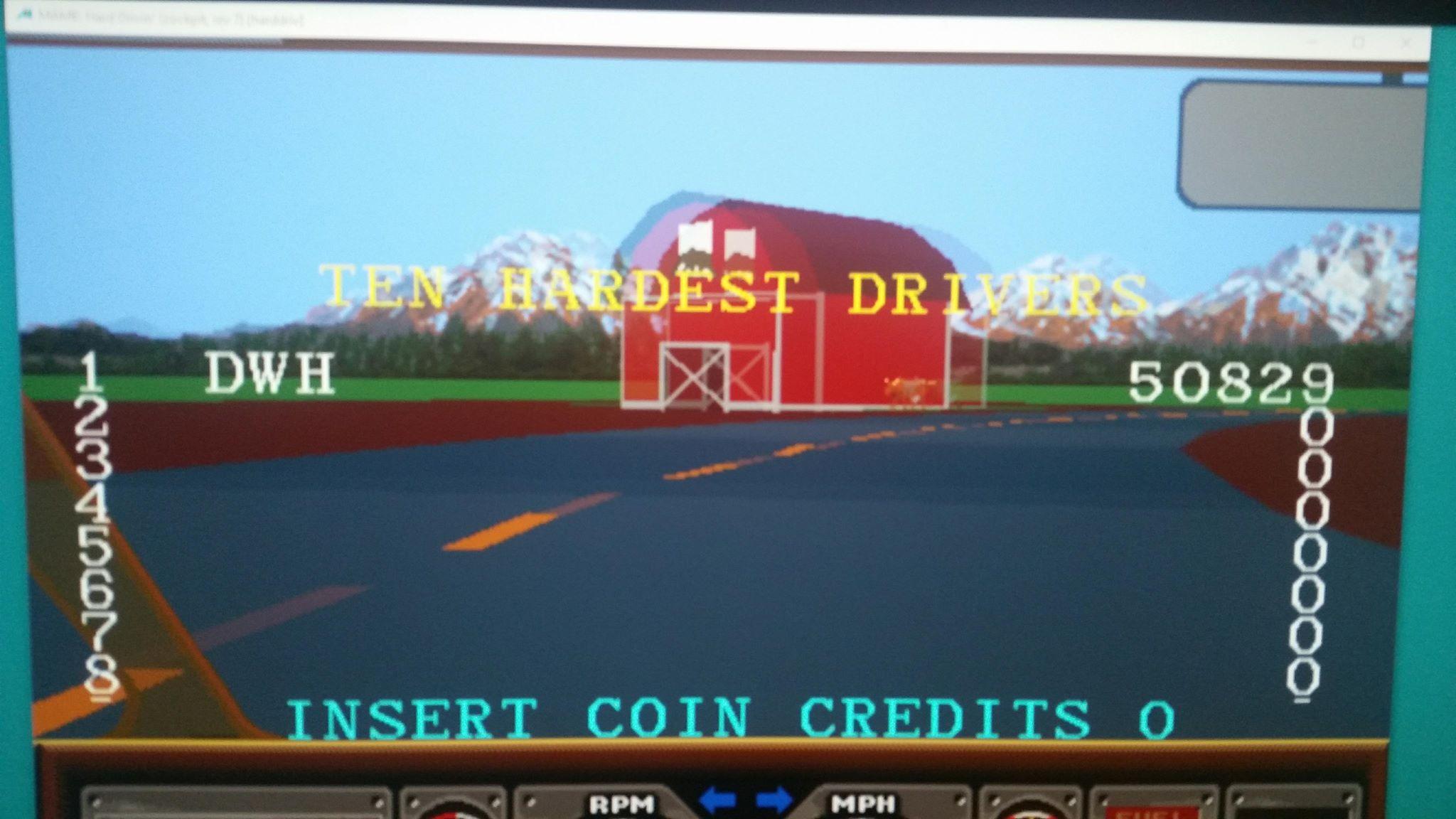 M A M E  - Hard Drivin' [Cockpit, Rev 7] - Points - 50,829