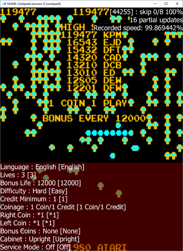 M A M E  - Centipede [Revision 3] - Points - 119,477 - Kane Mawhinney