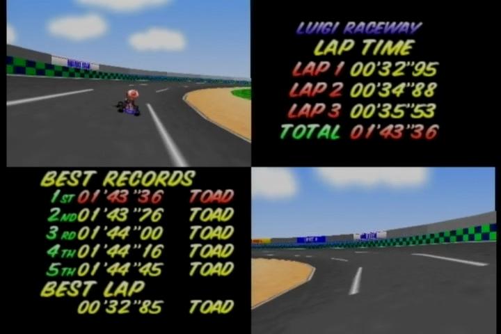 Nintendo Wii Virtual Console Mario Kart 64 N64 Luigi Raceway