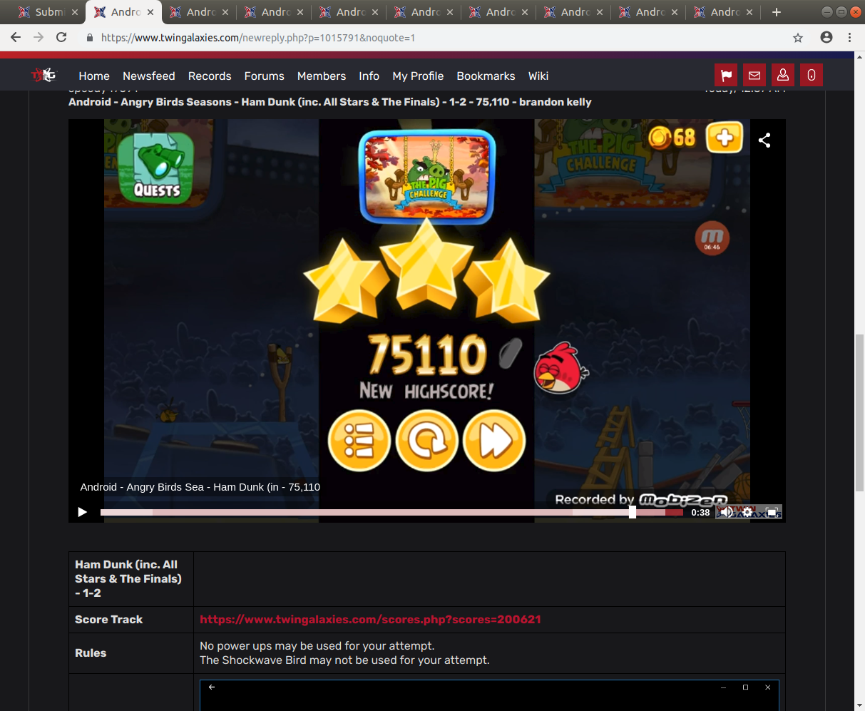 Android - Angry Birds Seasons - Ham Dunk (inc. All Stars & The Finals) -  1-2 - 75,110 - brandon kelly