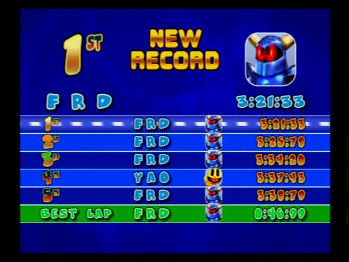 Name:  Fredb999-PS2-Pac-Man_World_Rally_[NTSC-Time_Trial_Mode-WaterMelon_Cup-FunHouse_Of_Terror[Fastest.jpg Views: 49 Size:  107.5 KB